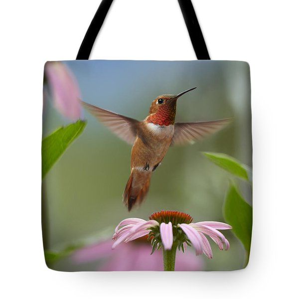 Rufous Hummingbird Male Feeding Tote Bag