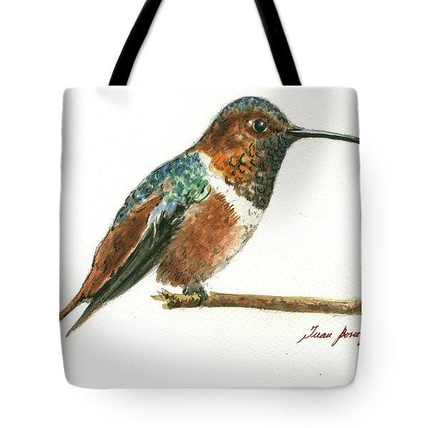 Rufous Hummingbird Watercolor Tote Bag
