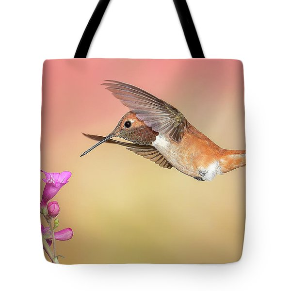 Rufous Hummingbird With Penstemon Tote Bag