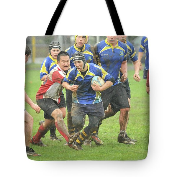 Rugby In The Mud Tote Bag