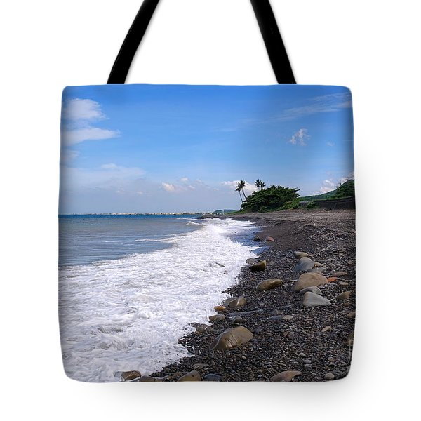 Tote Bag featuring the photograph Rugged Coastline In Taiwan by Yali Shi
