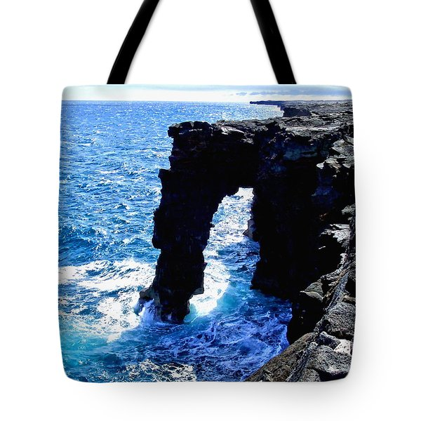 Tote Bag featuring the photograph Rugged Kona Sea Arch by Amy McDaniel
