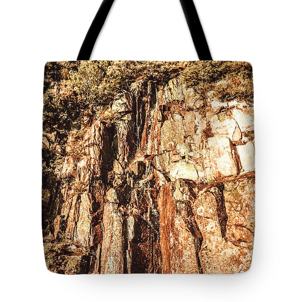 Rugged Vertical Cliff Face Tote Bag