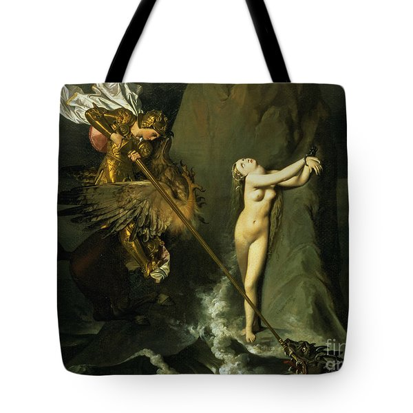 Ruggiero Rescuing Angelica Tote Bag by Ingres