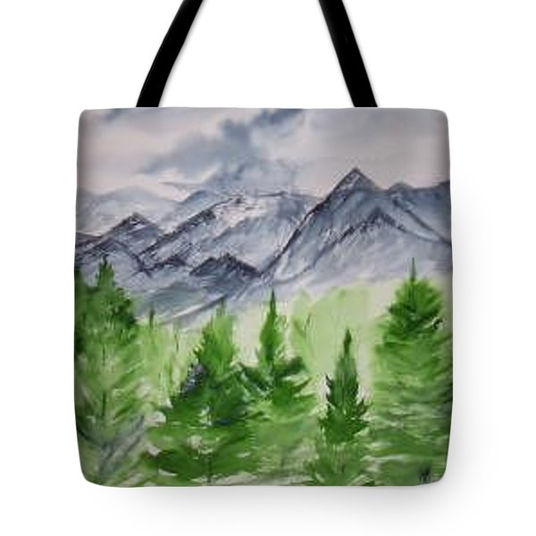Ruidoso Nm Southwestern Mountain Landscape Watercolor Painting Poster Print Tote Bag by Derek Mccrea