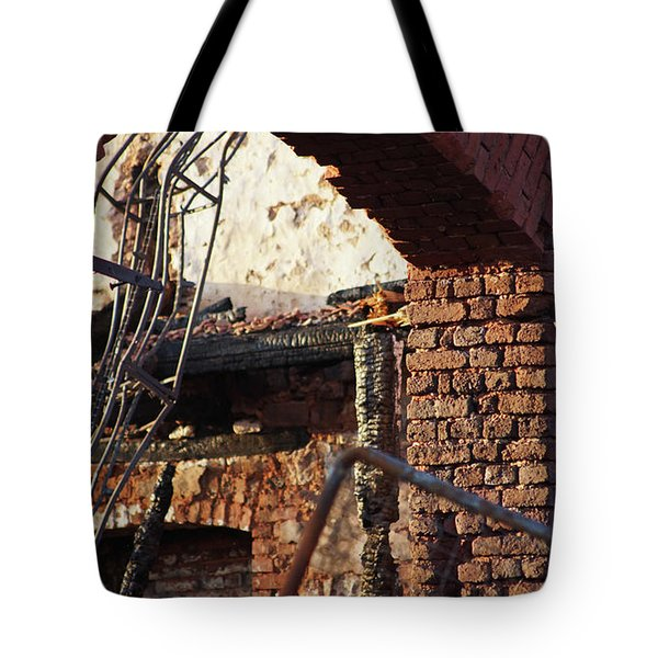Ruin After Big Fire  Tote Bag