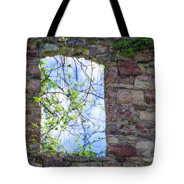 Tote Bag featuring the photograph Ruin Of A Window - Bridgetown Millhouse  Bucks County Pa by Bill Cannon