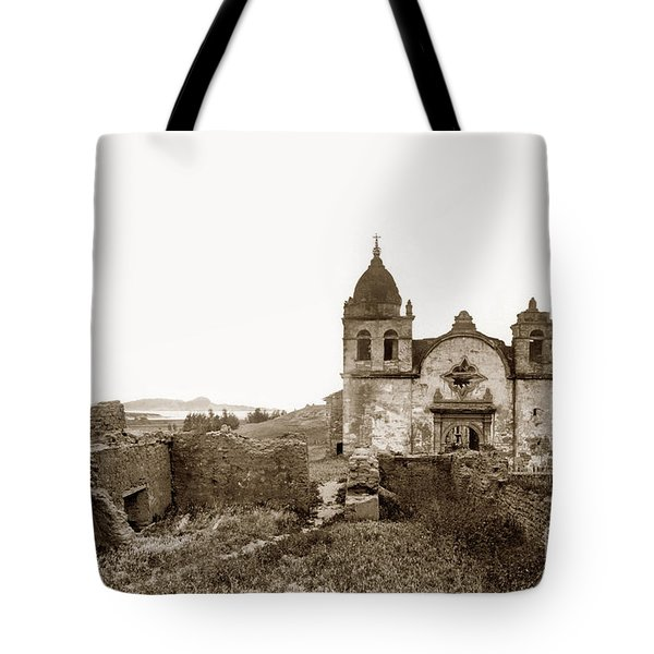 Ruins Of Carmel Mission, Monterey, Cal. Circa 1882 Tote Bag
