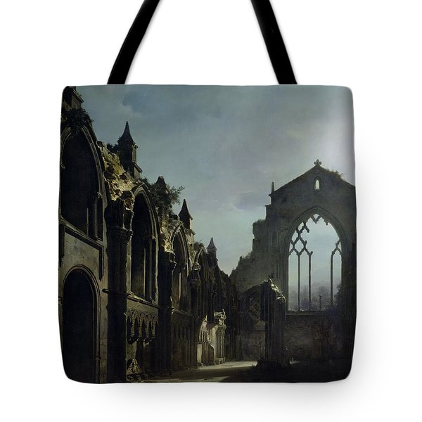 Ruins Of Holyrood Chapel Tote Bag by Louis Jacques Mande Daguerre