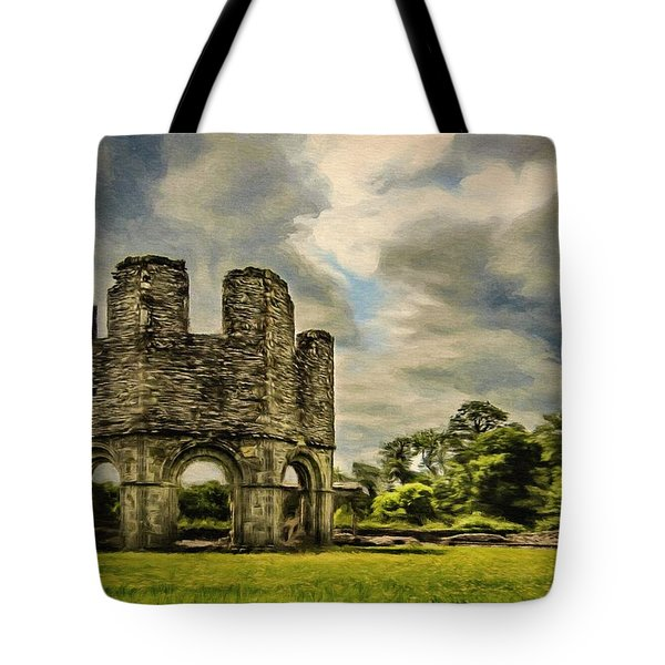 Tote Bag featuring the painting Ruins Of Mellifont Abbey by Jeff Kolker