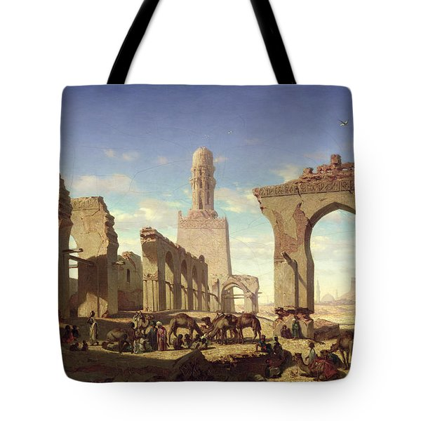 Ruins Of The Mosque Of The Caliph El Haken In Cairo Tote Bag by Prosper Georges Antoine Marilhat