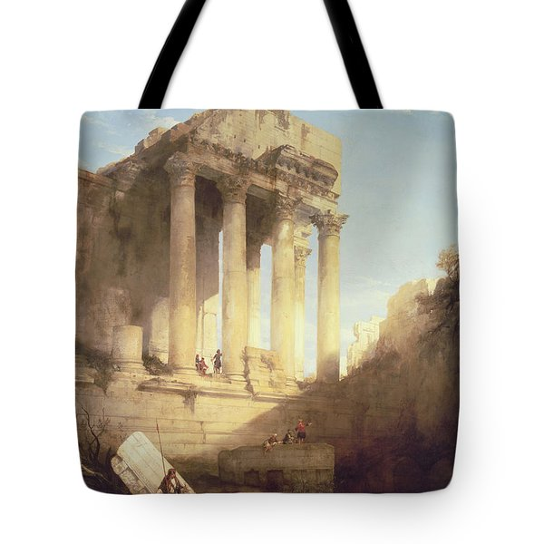 Ruins Of The Temple Of Bacchus Tote Bag by David Roberts