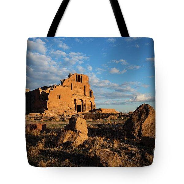Ruins Of Yereruyk Temple Under Amazing Cloudscape, Armenia Tote Bag
