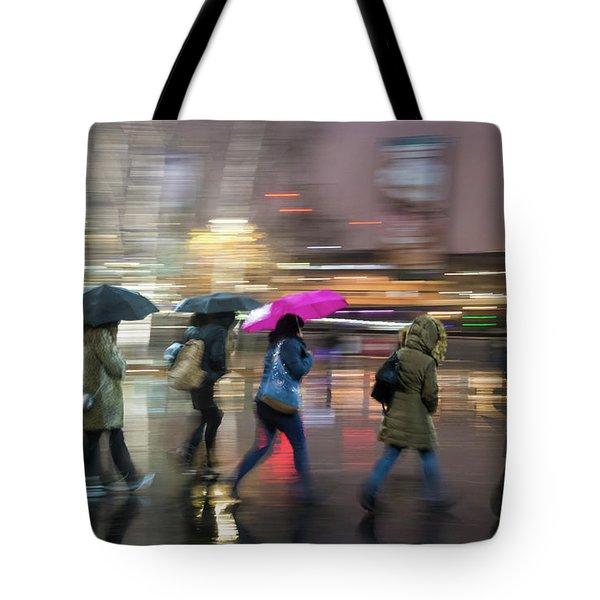 Run Between The Raindrops Tote Bag