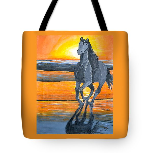 Tote Bag featuring the painting Run Free by Donna Blossom