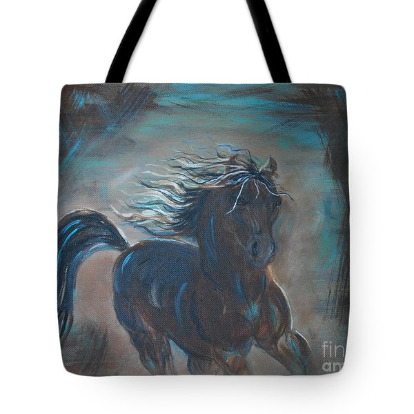 Tote Bag featuring the painting Run Horse Run by Leslie Allen
