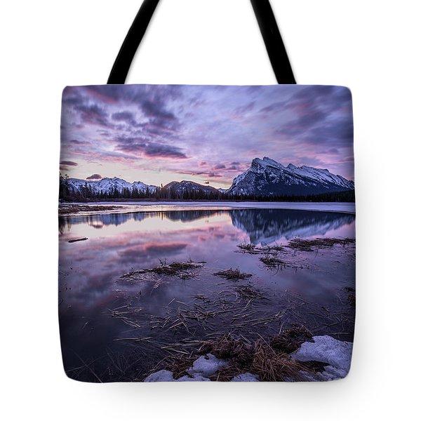 Rundle Mountain Skies Tote Bag