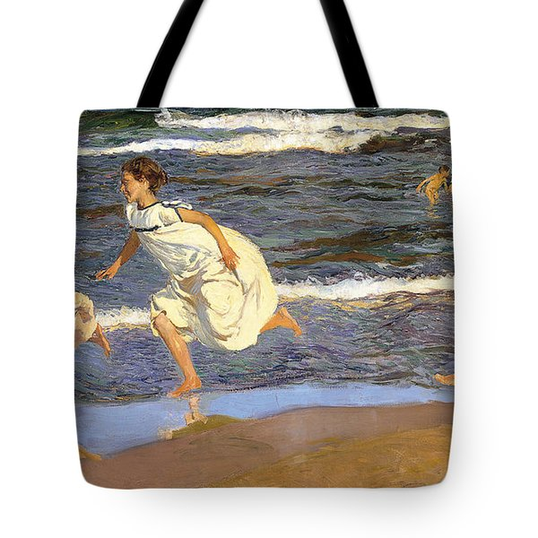 Tote Bag featuring the painting Running Along The Beach by Joaquen Sorolla y Bastida