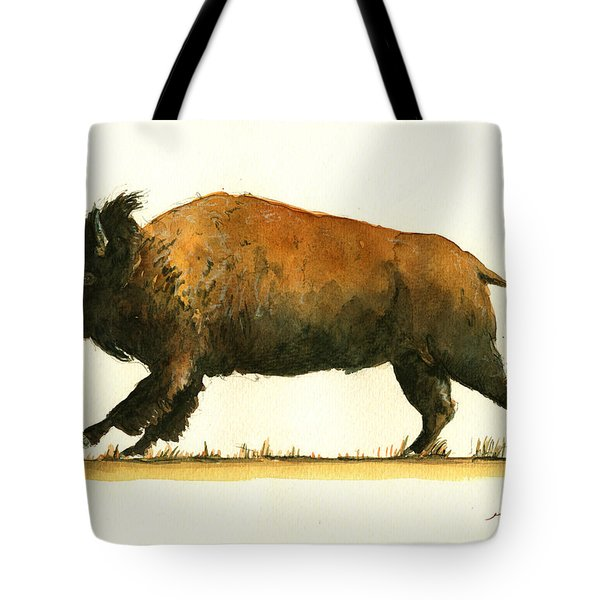 Running American Buffalo Tote Bag by Juan  Bosco