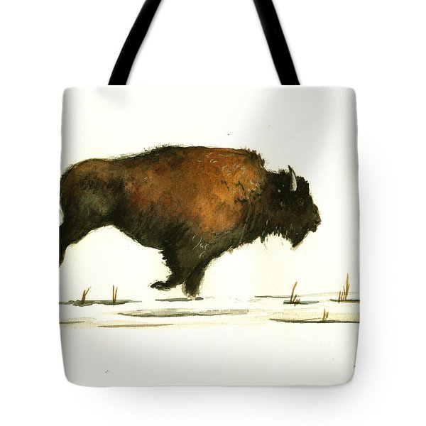 Running Buffalo Tote Bag by Juan  Bosco