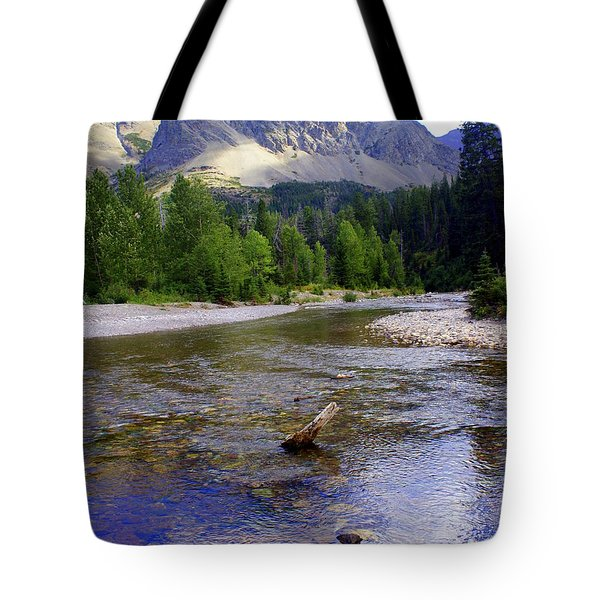 Running Eagle Creek Glacier National Park Tote Bag by Marty Koch