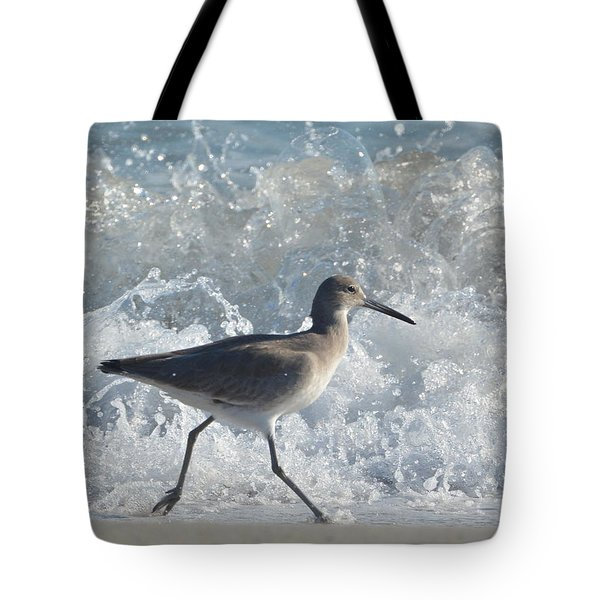 Running From The Ocean Waves Tote Bag