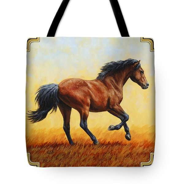 Running Horse - Evening Fire Tote Bag