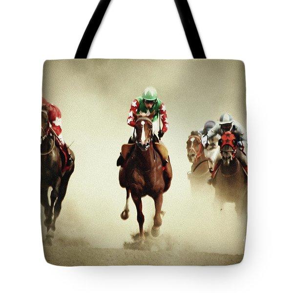 Running Horses In Dust Tote Bag