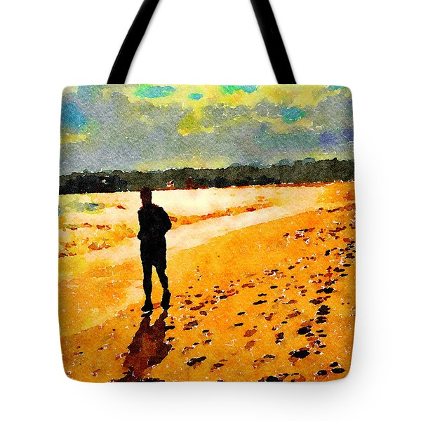 Tote Bag featuring the painting Running In The Golden Light by Angela Treat Lyon