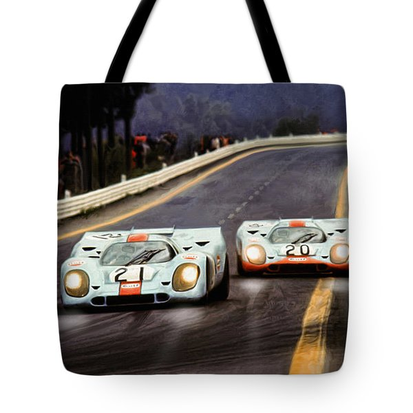 Running One Two Tote Bag by Peter Chilelli