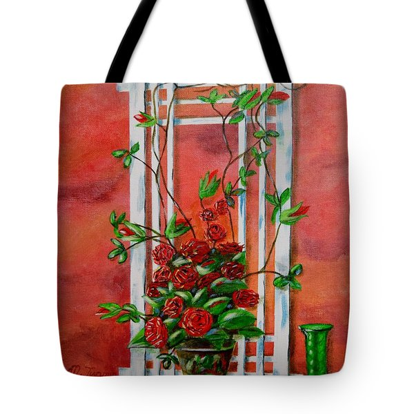Tote Bag featuring the painting Running Roses by Melvin Turner