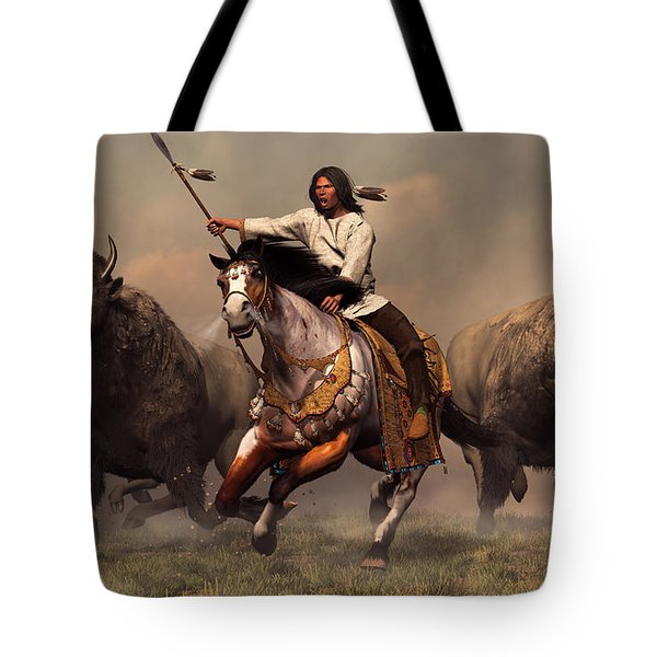 Tote Bag featuring the digital art Running With Buffalo by Daniel Eskridge