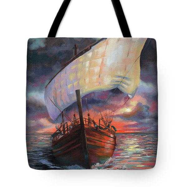 Running With The Dolphins At Sunset Tote Bag