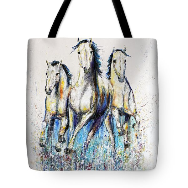 Running With The Herd Horse Painting Tote Bag