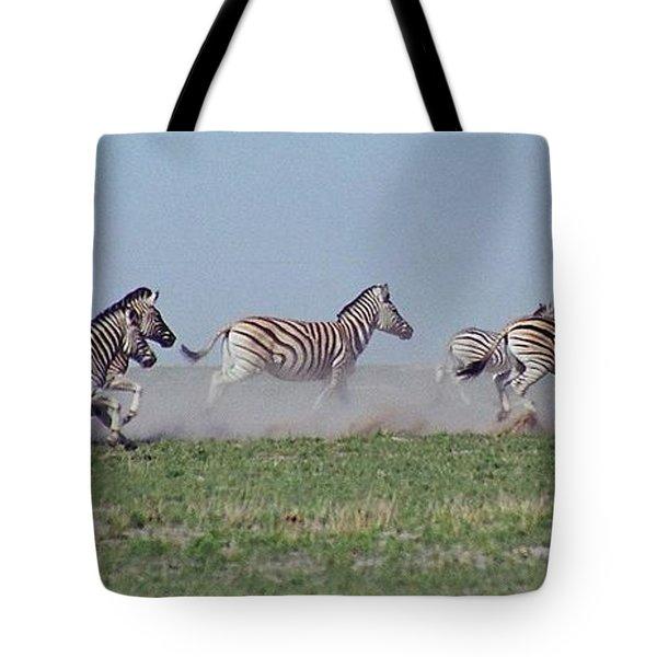 Running Zebras Tote Bag