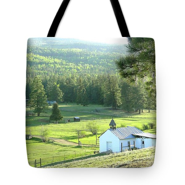 Rural Church In The Valley Tote Bag