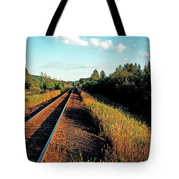 Rural Country Side Train Tracks Tote Bag