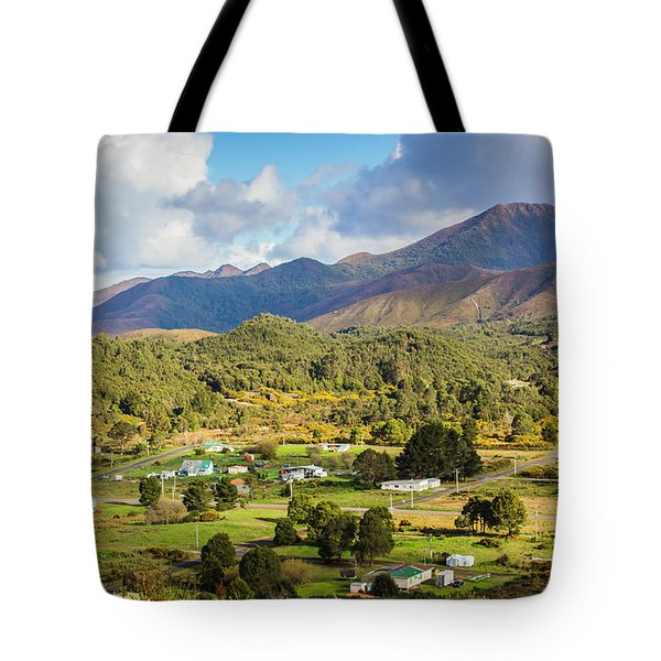 Rural Landscape With Mountains And Valley Village Tote Bag