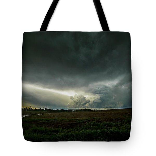 Rural Spring Storm Over Chester Nebraska Tote Bag by Art Whitton