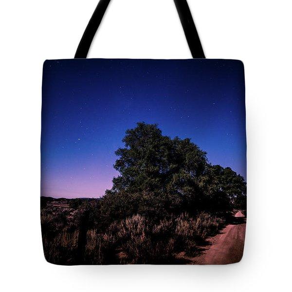 Rural Starlit Road Tote Bag