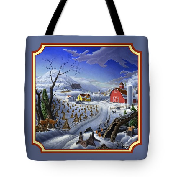 Rural Winter Country Farm Life Landscape - Square Format Tote Bag