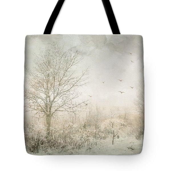 Rural Winter Landscape Tote Bag
