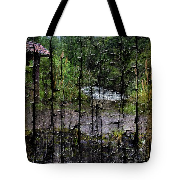 Rushing Cascade In The Andes - On Bark Tote Bag