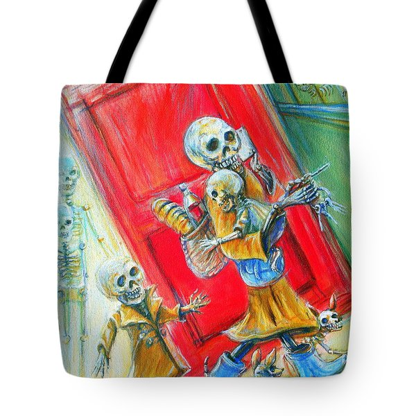 Tote Bag featuring the painting Rushing by Heather Calderon