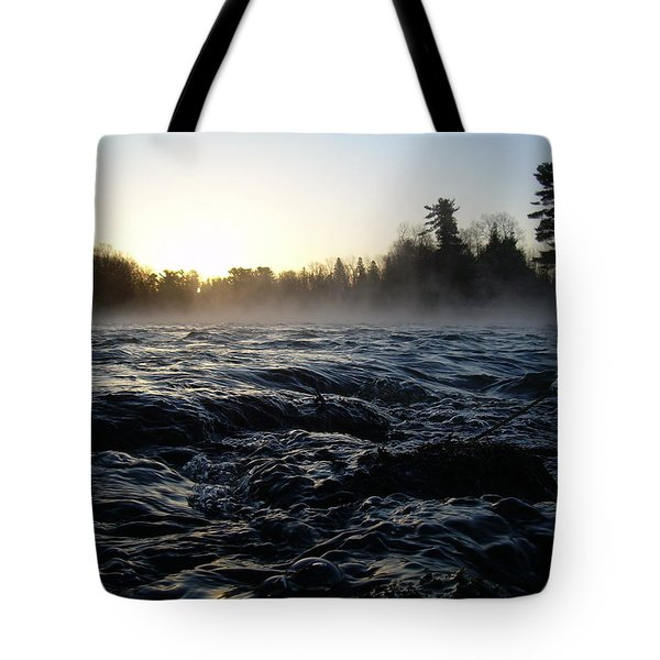 Tote Bag featuring the photograph Rushing Water In Missississippi River by Kent Lorentzen