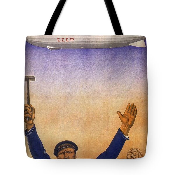 Russian Airship, Airport Ground Staff - Retro Travel Poster - Vintage Poster Tote Bag