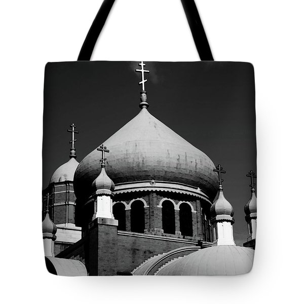 Russian Orthodox Church Bw Tote Bag by Karol Livote