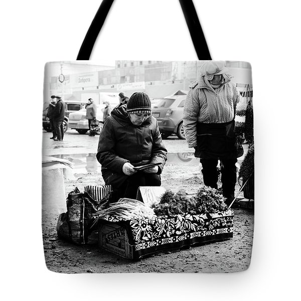 Russian Women Selling Herbs And Onions Tote Bag