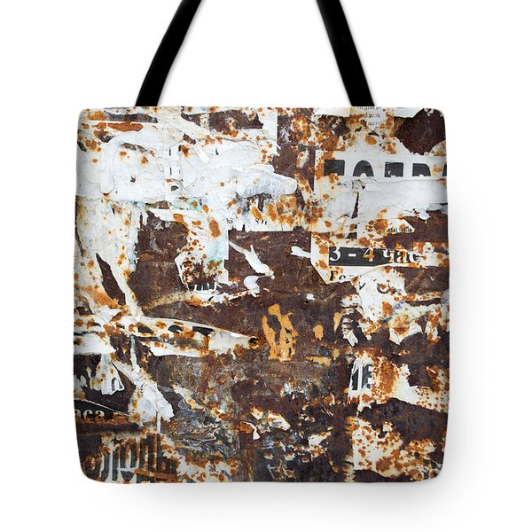 Tote Bag featuring the photograph Rust And Torn Paper Posters by John Williams