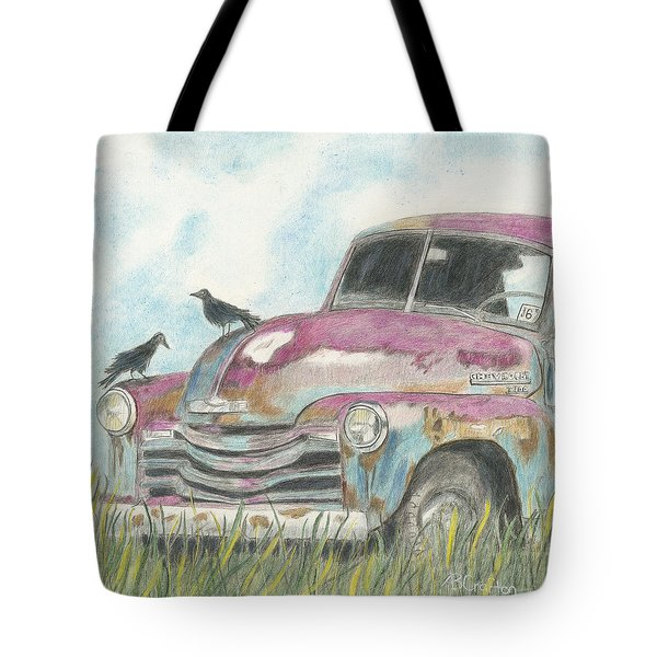 Tote Bag featuring the drawing Rust In Peace by Arlene Crafton